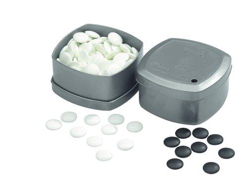 Philos 4301 - Profi Go-Spielsteine aus Glas, Set schwarz/weiß, Zubehör