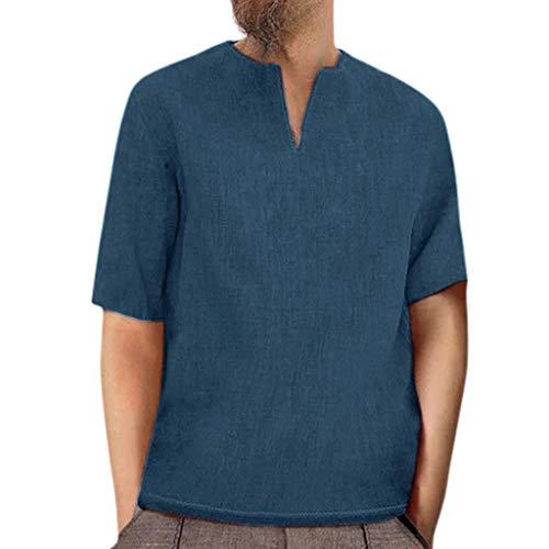 TEBAISE Leinenhemd Herren Traditionelle Leinen Lässige Kurzarm Hemden Thai T-Shirt Goa Hippie Fischerhemd 2019 Sommer Vintage Rundhalsausschnitt Oberteile Bluse Bequemer Schnitt -