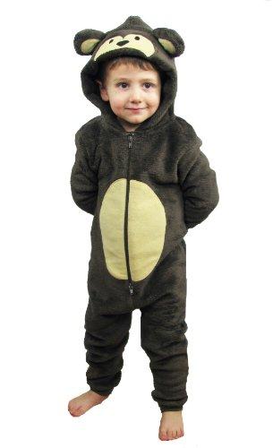 Kinder Jungen Mädchen Strampelanzug Schlafoveralls Tier Overall flauschig Fleece Jumpsuits Mops Teddybär Affe Dalmatiner Schaf Gorilla - Alter 2-13 Jahre, 10 - 11 AFFE