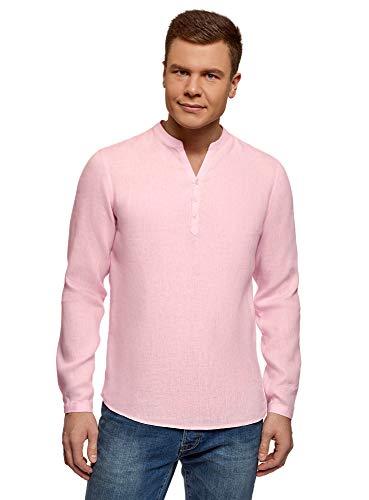 53% Leinen (oodji Ultra Herren Kragenloses Leinenhemd, Rosa, Herstellergröße 42,5 (Kragenweite 42,5 cm)/ DE 52-54 / L)