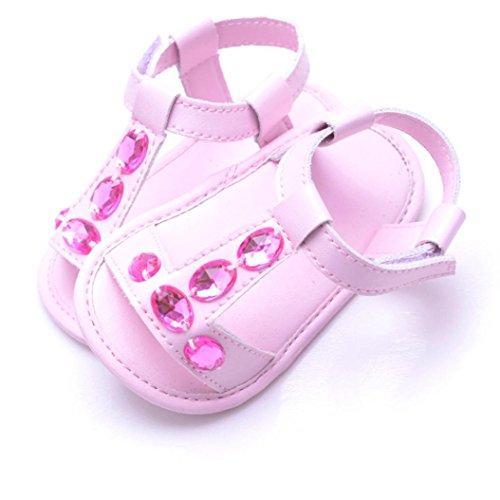BZLine® PU Cuir Faux Diamant Sandales à Semelle en Tissu pour Bébés 0-18Mois pink