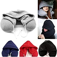 FKLOC Neck Pillow U Shaped Travel Pillow Hoodie Pillow Soft Hooded Car Cushions Pillows Body Neck Support For Office Headres
