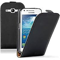 Membrane - Ultra Slim Negro Funda Carcasa para Samsung Galaxy Core Plus (GT-G3500 / SM-G350 / G3502 / Trend 3) - Flip Case Cover + 2 protectores de pantalla