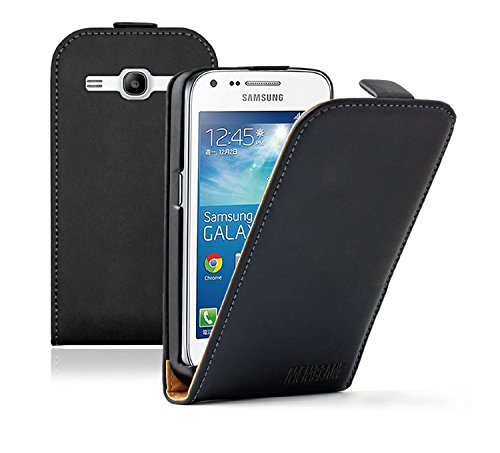 Membrane - Ultra Slim Nero Custodia Compatibile con Samsung Galaxy Core Plus (GT-G3500 / SM-G350 / G3502 / Trend 3) - Flip Case Cover + 2 Pellicola Protettiva