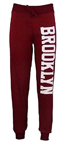 Janisramone Womens New Brooklyn Side Print Bottoms Joggers Tracksuit Ladies Jogging Trousers Pants