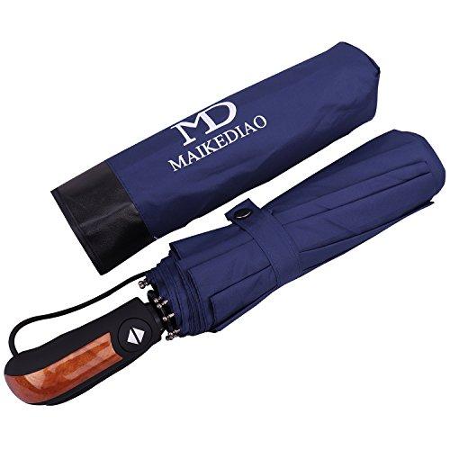 Paraguas Plegable con Apertura y Cierre Automático Compacto y Ligero a Prueba de Viento y Agua Anti UV Durable Paraguas de Viaje (Azul)