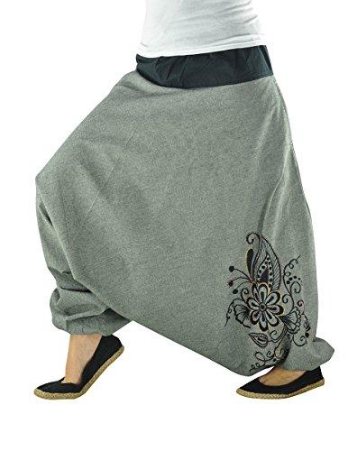 virblatt - Haremshose Damen Hippie Kleidung Yoga Kleidung - Nachtschattengewächs gy -