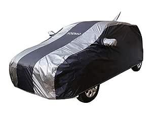 Amazon Brand - Solimo Ford Figo Water Resistant Car Cover (Dark Blue & Silver)
