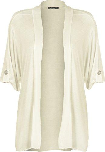 WearAll - Damen Übergröße kurzarm knopf offen Cardigan Top - Crème - 44-46