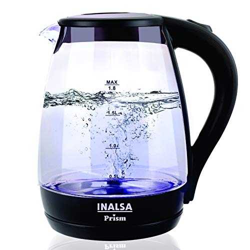 Inalsa Electric Kettle PRISM-1500W with LED Illumination,Boro-Silicate Body, 1.8 L Capacity, Glass Kettle, (Black)