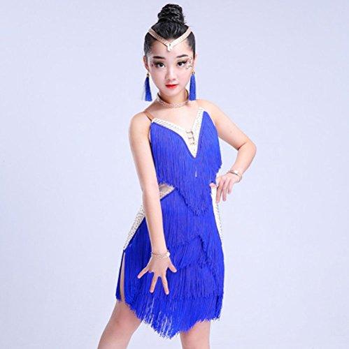 ZHANGQIAN Tanz Rock Kleid Ballett Rock Latin Tanzkleid, Bauchtanz und Andere Mädchen Tanz Röcke Tüll Rock,Blue,120Cm
