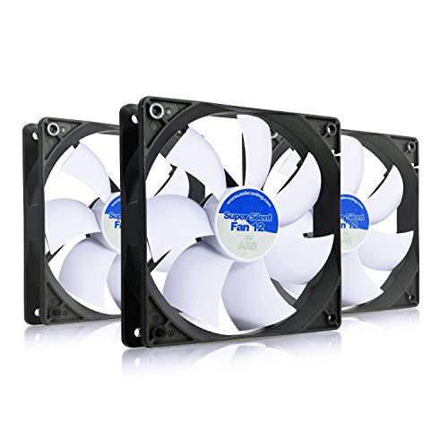 AAB Cooling Super Silent Fan 12 - Una Silenziosa e Molto Efficiente 120mm Ventola per Case PC | PC Portatile | Ventilatore 12V | Ventola PC | 12cm | 3 Pin Ventola Aspirazione - Set di 3 Pezzi