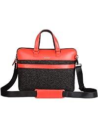 Veuza Paris Premium Jacquard And Faux Leather 14 Inch Black Laptop Bag For Macbook/ Macbook Air
