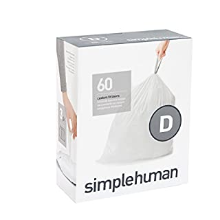 simplehuman Code D, Custom Fit Bin Liners, 60 Liners, White, 20 L