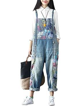 Vogstyle Donna Pantaloni Jeans Donna Salopette A fiori