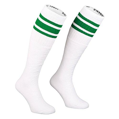Skatersocks 25 Inch Tube Socken Kniestrümpfe oldschool Sportsocken weiß grün (Old-school-tube-socken)