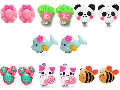 5 pairs principessa set orecchini a clip per bambini bambine
