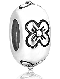 Argent Daisy Fleurs Charms Stopper–Argent Sterling 925