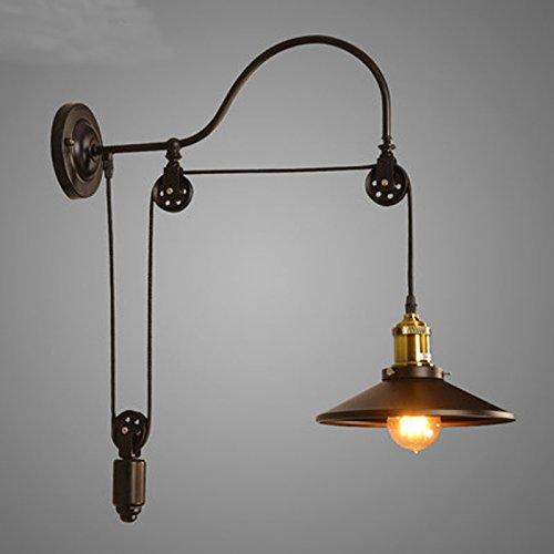 American Style Iluminación lámpara de pared de la vendimia 5151BuyWorld antigüedad de la manera Lift retráctil Polea aplique JIELDE Serge Mouille [Brown]