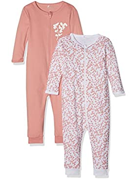 NAME IT Baby-Mädchen Schlafstrampler Nmfnightsuit 2P Zip Rose Tan Noos, 2er Pack