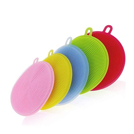 N M Z Cleaning Supplies Sponges Silicone Scrubber for Kitchen Non Stick Dishwashing & Baby Care Sponge Brush Household Health Tool (Set of 2)