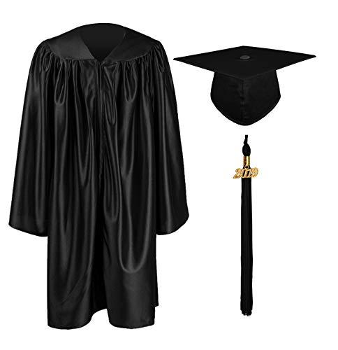 GraduationMall Kinder Akademischer Talar Doktorhut und Quaste Für Abschlussfeier Schwarz 30(115-122cm) -