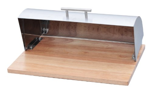 Trademark Innovations Stainless Steel Bread Box with Wood Base By Trademark Innovations