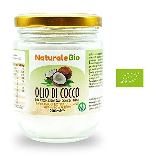 Aceite de coco extra virgen 200 ml - Crudo y prensado en frío - Puro y 100% biológico - Ideal para cabello, cuerpo y para uso alimentario - Aceite bio nativo no refinado - (NaturaleBio)