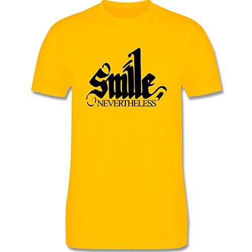 Statement Shirts - Lächle trotzdem - smile nevertheless - Herren Premium T- Shirt Gelb