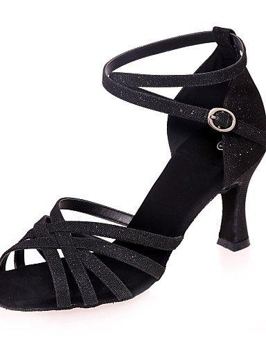 La mode moderne Non Sandales Chaussures de danse pour femmes personnalisables Glitter Paillettes mousseux mousseux Amérique sandales talon évasé pratique / Intérieur / PerformanceBlack / US8.5 / EU39 / UK6.5 / CN40