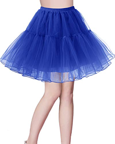 bridesmay Kurz Retro Petticoat Rock 1950er Vintage Tutu Ballett Unterkleid Royal Blue M
