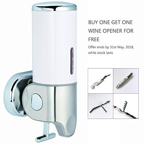 VERSACE DUNN Elsa Wand montiert Spender weiß, Badezimmer Dusche Liquid Seife Shampoo Gel Spender, 17,6Unzen/500ml