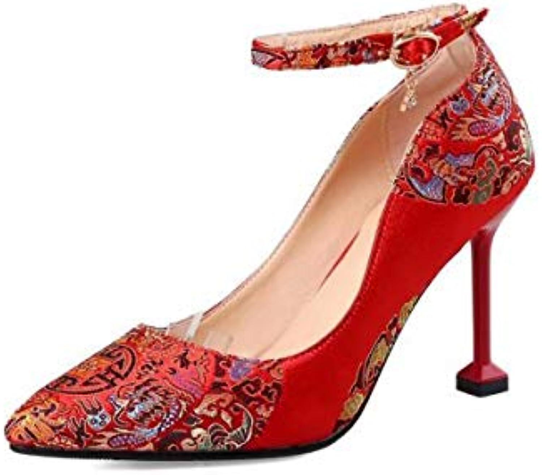 KPHY Scarpe da Donna Autunno Rosso 9Cm Tacco Alto Alto Alto Matrimonio in Stile Cinese Xiuhe Scarpe Scarpe Stile Nazionale... | Ha una lunga reputazione  1dea01