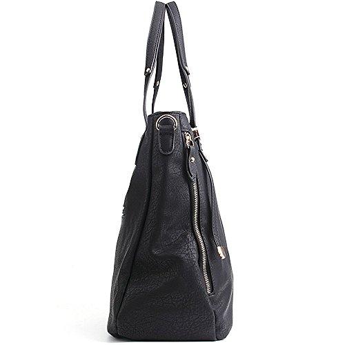 CASELAND PU Leder Taschen Henkeltaschen Large Tote Schultertaschen Damen Umhängetasche Handtaschen Damen Tasche (L:36cm * H:33cm * W:17cm) 1-Schwarz