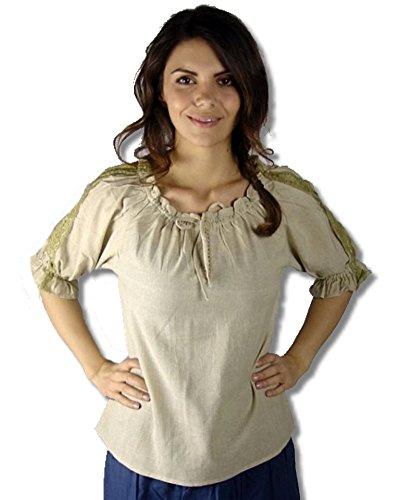 Leonardo Carbone Mittelalter Marktbluse - Damen Janina - 60 S Ära Kostüm