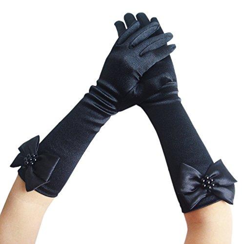 Blumenmädchen Kinder Satin Lange Handschuhe Brautjungfer Festzug Abschlussball (6-9 Jahre, schwarz) (Kinder Lange Schwarze Handschuhe)