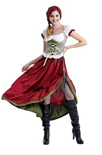 Minion Selbstgemacht Kostüm (Honeystore Damen Halloween Kostüme The Munich Oktoberfest Fashion Uniform Cosplay Allerheiligen Kleider für Oktoberfest Weinrot-01)