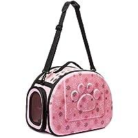 Cutepet - Mochila plegable para gatos y perros, bolsa de hombro, portátil, transpirable, color rosa