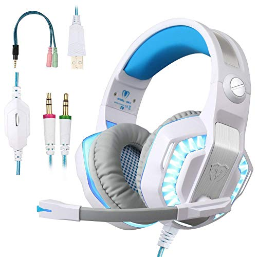 ShinePick Gaming Headset, Headset für Xbox One, 3.5mm LED Licht Bass Stereo mit Weich Mikrofon Kopfhörer für PS4 Xbox One Nintendo Switch PC Laptop Mac Handy Tablet(Weiß)