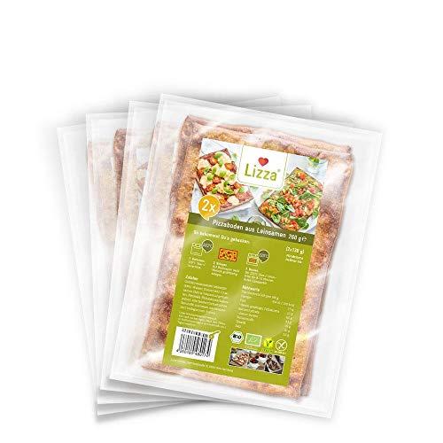 Lizza Low Carb Pizzaböden aus Leinsamen und Chiasamen | 2 Stk. je Packung (super schnell zubereitet & viel Eiweiß) | 4 Pack