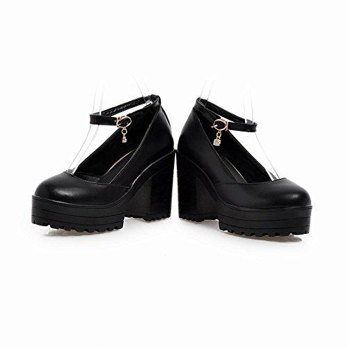 Mee Shoes Damen chunky heels Ankle strap Schnalle Pumps Schwarz