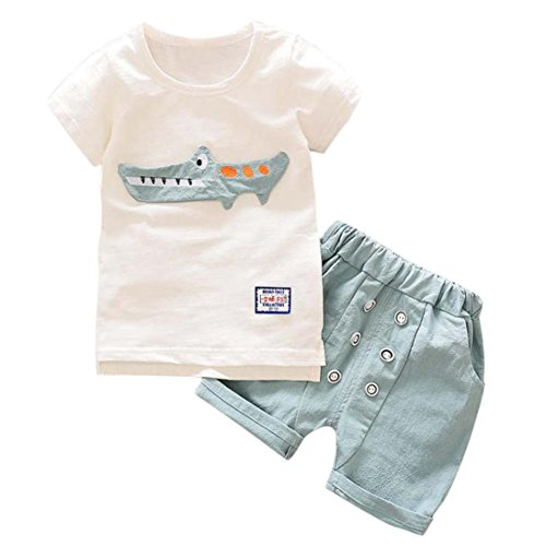 Voberry 2Pcs Infant Toddler Baby Boys Kid Boy Outfits Clothes Cartoon Print Short Sleeve T-Shirt Tops+Shorts Pants Set For 1-5 Years Old