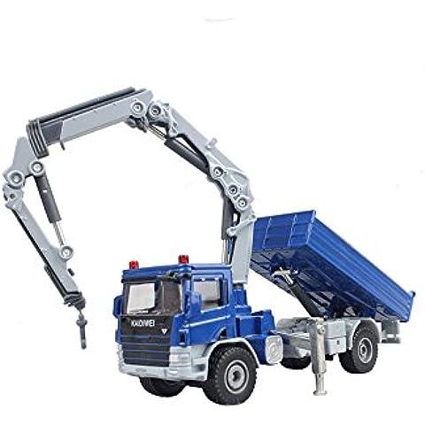 hugine aleación 1: 50Atego con Crane camión Diecast Modelo azul
