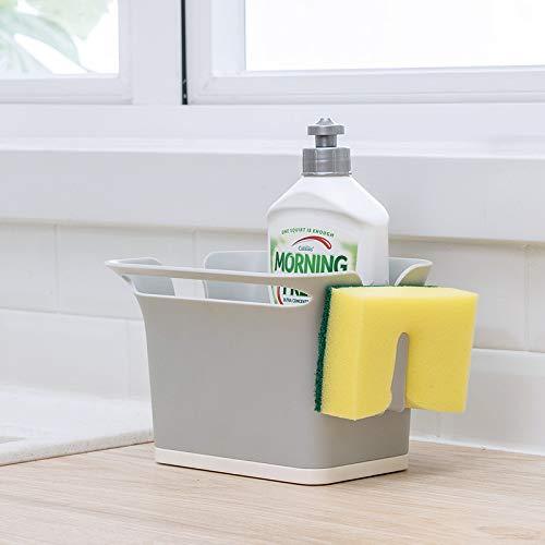 Qisiewell Spulbecken Organizer Grau fur das Spulbecken Caddy Ordnungshelfer Kuchenutensilienhalter ABS Plastik 17.6x14.5x12.8 cm (Spülbecken-geschirr-halter)