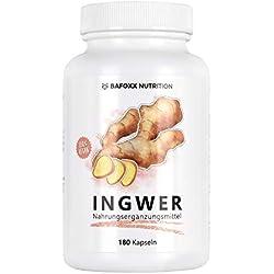 INGWER 180 Kapseln - Nur für kurze Zeit zum Einführungspreis - Hochdosiertes Naturprodukt mit 300 mg Ingwerpulver - pur - vegan - 6 Monatsvorrat - hergestellt in Deutschland