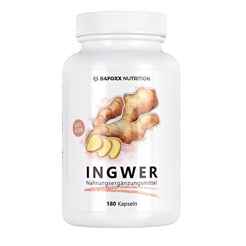 INGWER 180 Kapseln - Hochdosiertes Naturprodukt mit 300 mg Ingwerpulver - pur - vegan - 6 Monatsvorrat - hergestellt in Deutschland