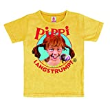 Logoshirt Pippi Langstrumpf - Portrait - Vintage T-Shirt Kinder - gelb - Lizenziertes Originaldesign, Größe 104/116, 4-6 Jahre