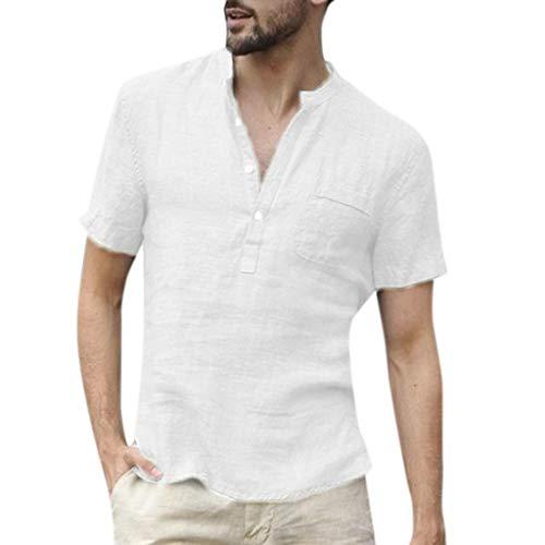 CICIYONER Leinenshirts Herren Tshirts Männer Baggy Baumwolle Leinen SOID Farbe Kurzarm Retro T-Shirts Tops Bluse