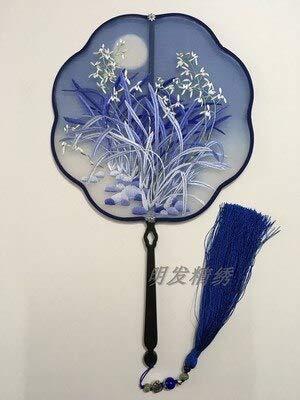 Kostüm Handmade - HMinegRong Feine traditionelle Handwerk Fan Dance Kostüm Dekorative Maulbeerseide Fan Handmade Doppel Suzhou Stickerei Ebenholz Griff Fan, style15, Durchmesser 20 cm