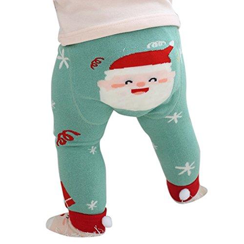 mioim Baby Butt Thermo-Strumpfhose Kinder Jungen Mädchen Leggings Hose Strumpfhosen Winter Baumwolle Pants mit Socken Weihnachtsmann 80 cm